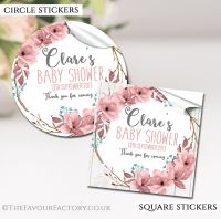 Personalised Baby Shower Stickers Boho Floral Wreath