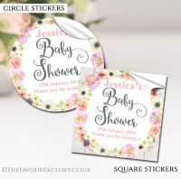 Watercolour Flowers Baby Shower Stickers
