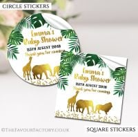 Personalised Baby Shower Stickers Gold Safari Animals