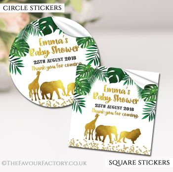 Baby Shower Stickers Personalised Gold Safari Animals