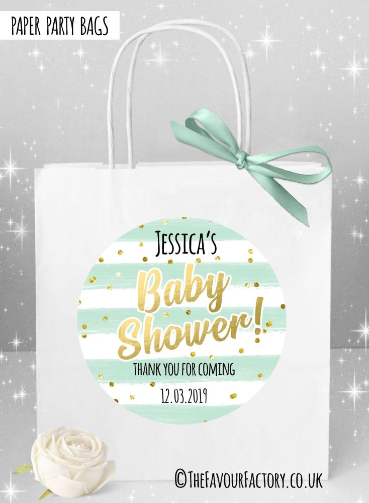 Baby Shower Party Bags Confetti Stripes Mint x1