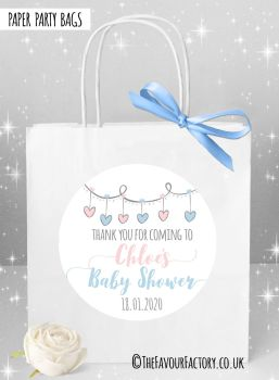 Baby Shower Party Bags Hearts Garland Pink & Blue x1