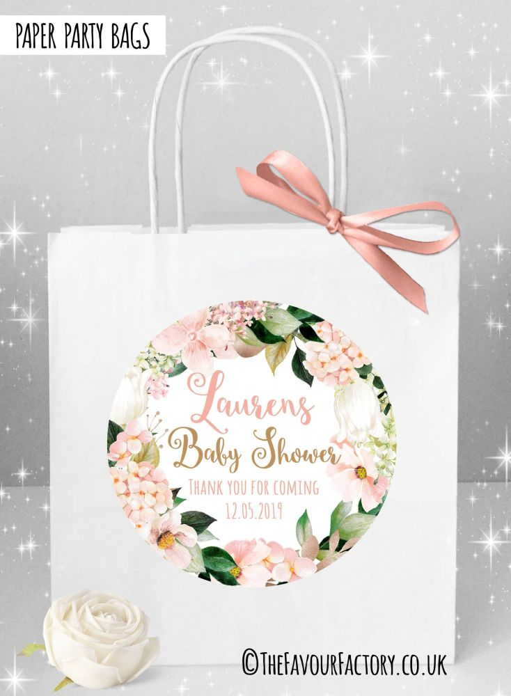 Baby Shower Party Bags Blush Hydrangeas x1