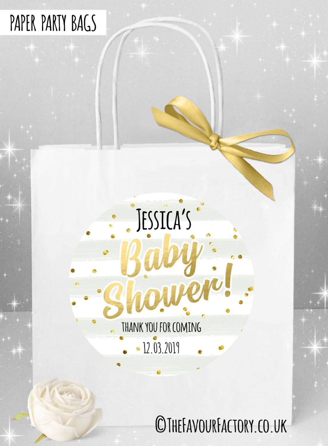 Personalised Baby Shower Party Bags Confetti Stripes x1