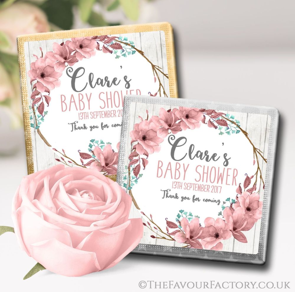 Baby Shower Chocolates Boho Floral Wreath x10