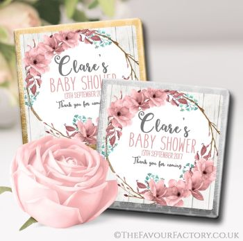 Baby Shower Chocolates Favours Boho Floral Wreath x10