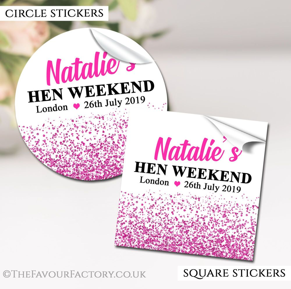 Hen Party Stickers Labels Personalised Glitter Confetti Hot Pink