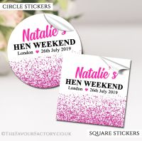 Hot Pink Glitter Confetti Hen Party Stickers