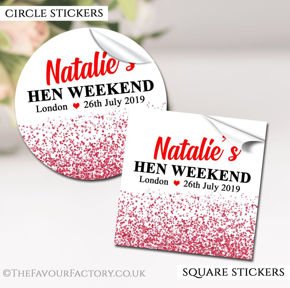 Hen Party Stickers Labels Personalised Glitter Confetti Red