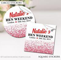 Hen Party Stickers Red Glitter Confetti