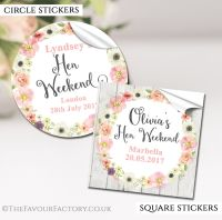 Blush Watercolour Flowers Hen Party Stickers