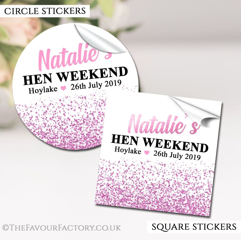 Hen Party Stickers Labels Personalised Glitter Confetti Light Pink