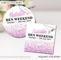 Hen Party Stickers Pink Glitter Confetti