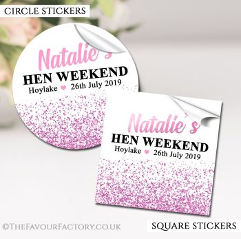 Hen Party Stickers Labels Personalised Glitter Confetti Pink