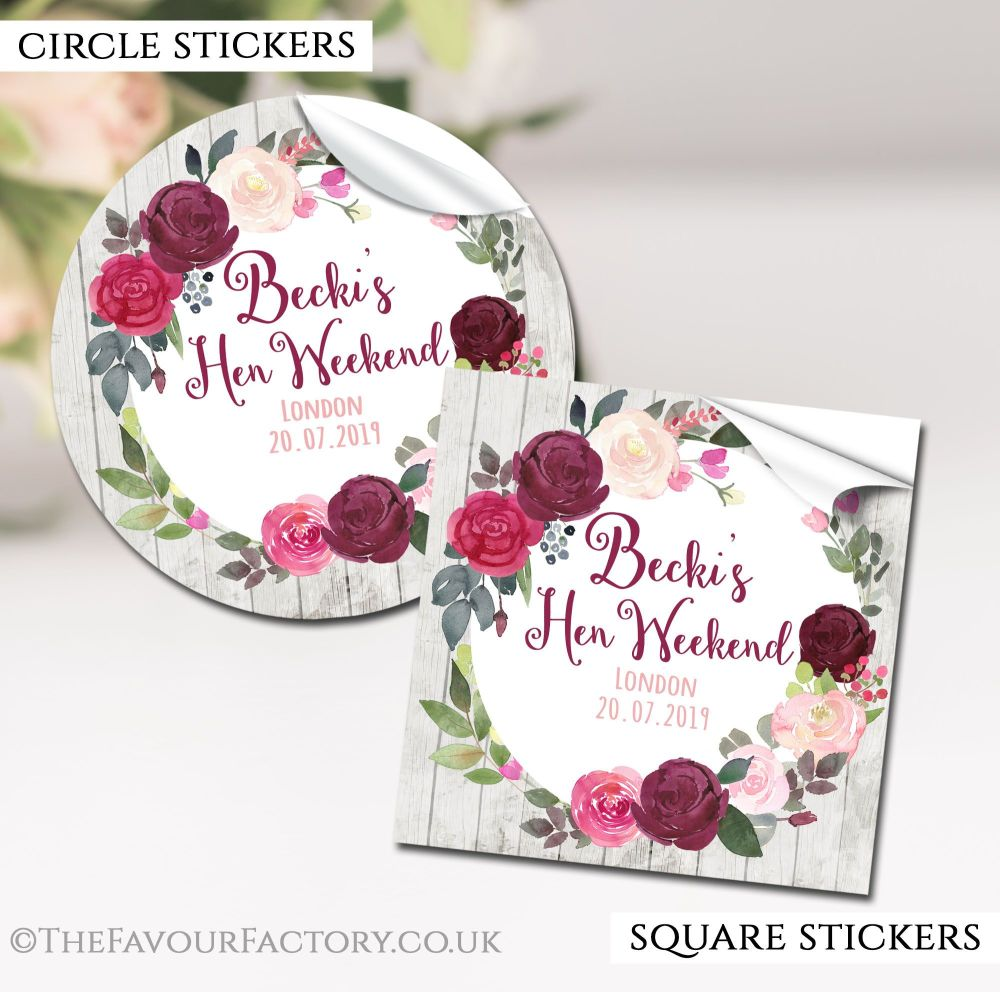 Hen Party Stickers Labels Personalised Blush Burgundy Floral Wreath