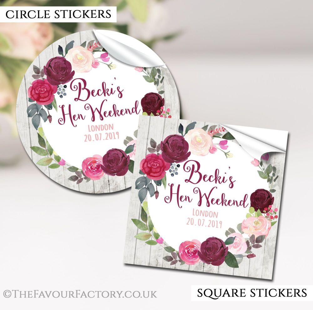 Hen Party Stickers Burgundy Blush Floral Wreath