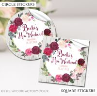 Burgundy Blush Floral Wreath Hen Party Stickers