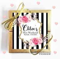 Hen Party Chocolate Quads Black Stripe Florals x1