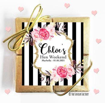 Hen Party Chocolates Quads Favours Black Stripe Floral x1