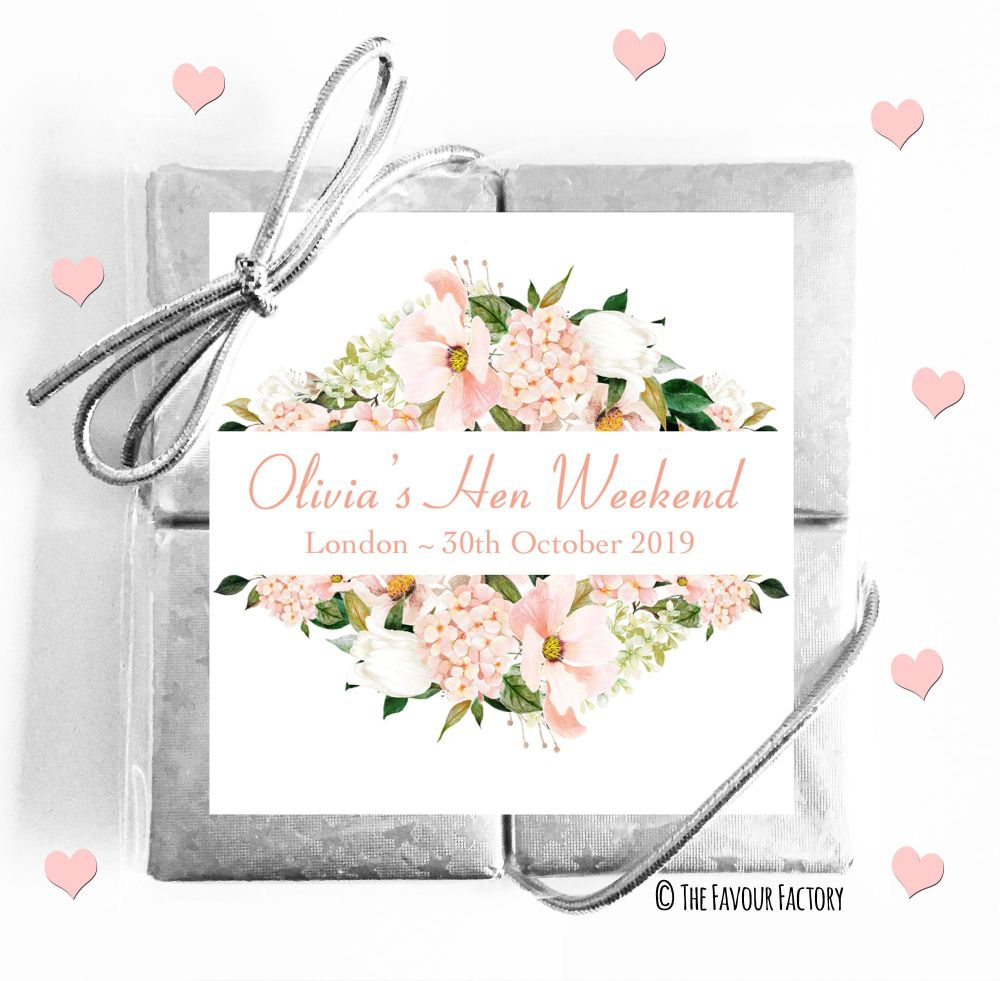 Hen Party Chocolate Quads Blush Floral Frame x1