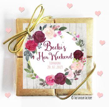 Hen Party Chocolates Quads Favours Burgundy Blush Floral x1