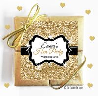 Hen Party Chocolate Quads  Gold Glitter x1