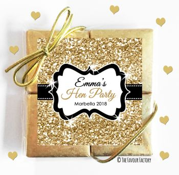 Hen Party Chocolates Quads Favours Glitter Gold x1