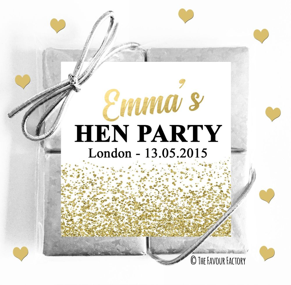 Hen Party Chocolate Quads Gold Glitter Confetti x1