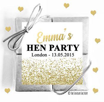 Hen Party Chocolates Quads Favours Glitter Confetti Gold x1