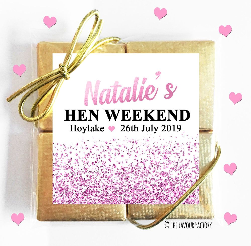 Hen Party Chocolate Quads Pink Glitter Confetti x1