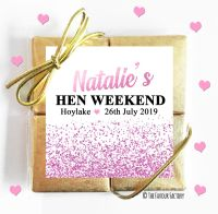 Pink Glitter Confetti Hen Party Chocolate Quads x1