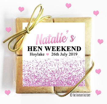 Hen Party Chocolates Quads Favours Glitter Confetti Pink x1