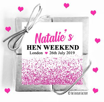Hen Party Chocolates Quads Favours Glitter Confetti Hot Pink x1