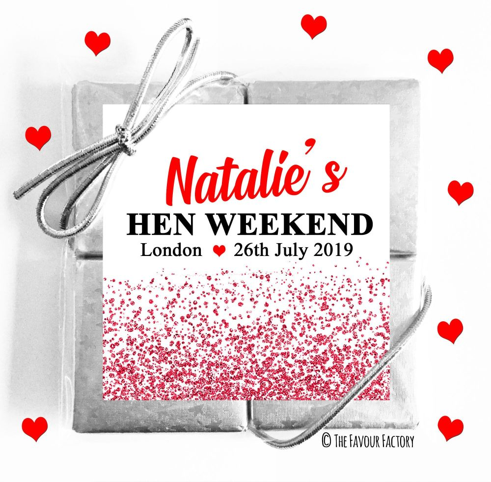 Hen Party Chocolate Quads Red Glitter Confetti x1