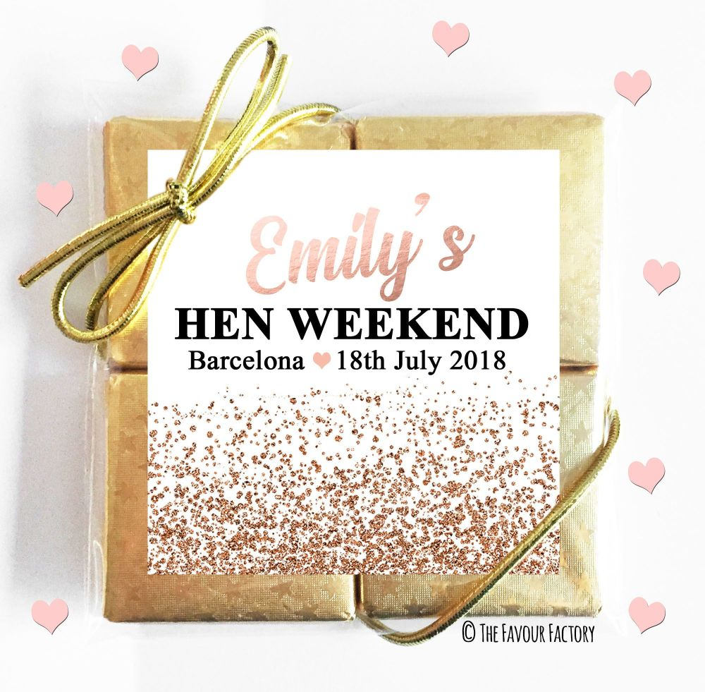 Hen Party Chocolates Quads Rose Gold Glitter Confetti x1