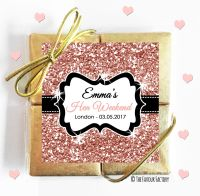 Hen Party Chocolate Quads Rose Gold Glitter x1