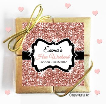 Hen Party Chocolates Quads Favours Rose Gold Glitter x1
