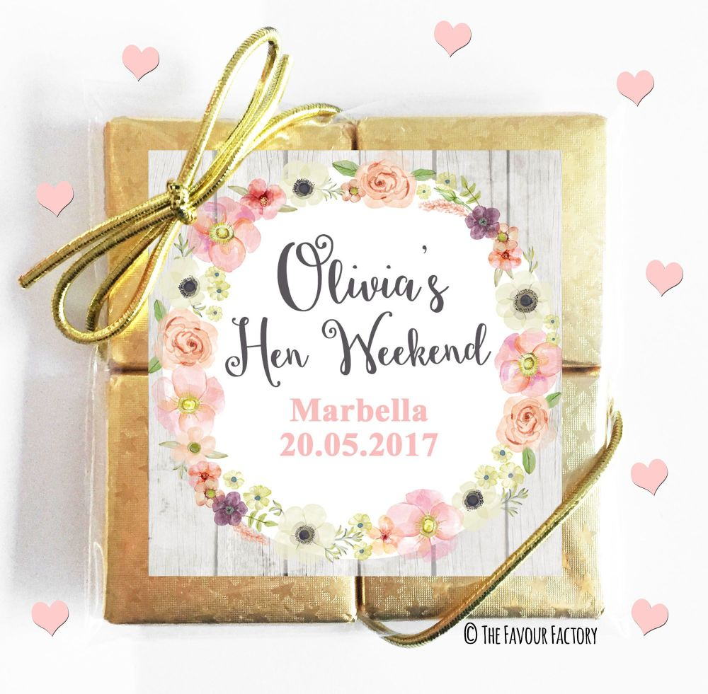 Hen Party Chocolate Quads Blush Watercolour Flowers x1
