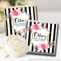 Hen Party Chocolate Squares Black Stripe Florals x10