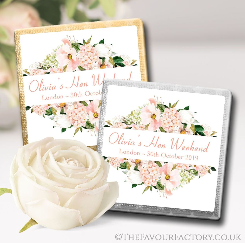 Blush Floral Frame Hen Party Chocolate Squares x10