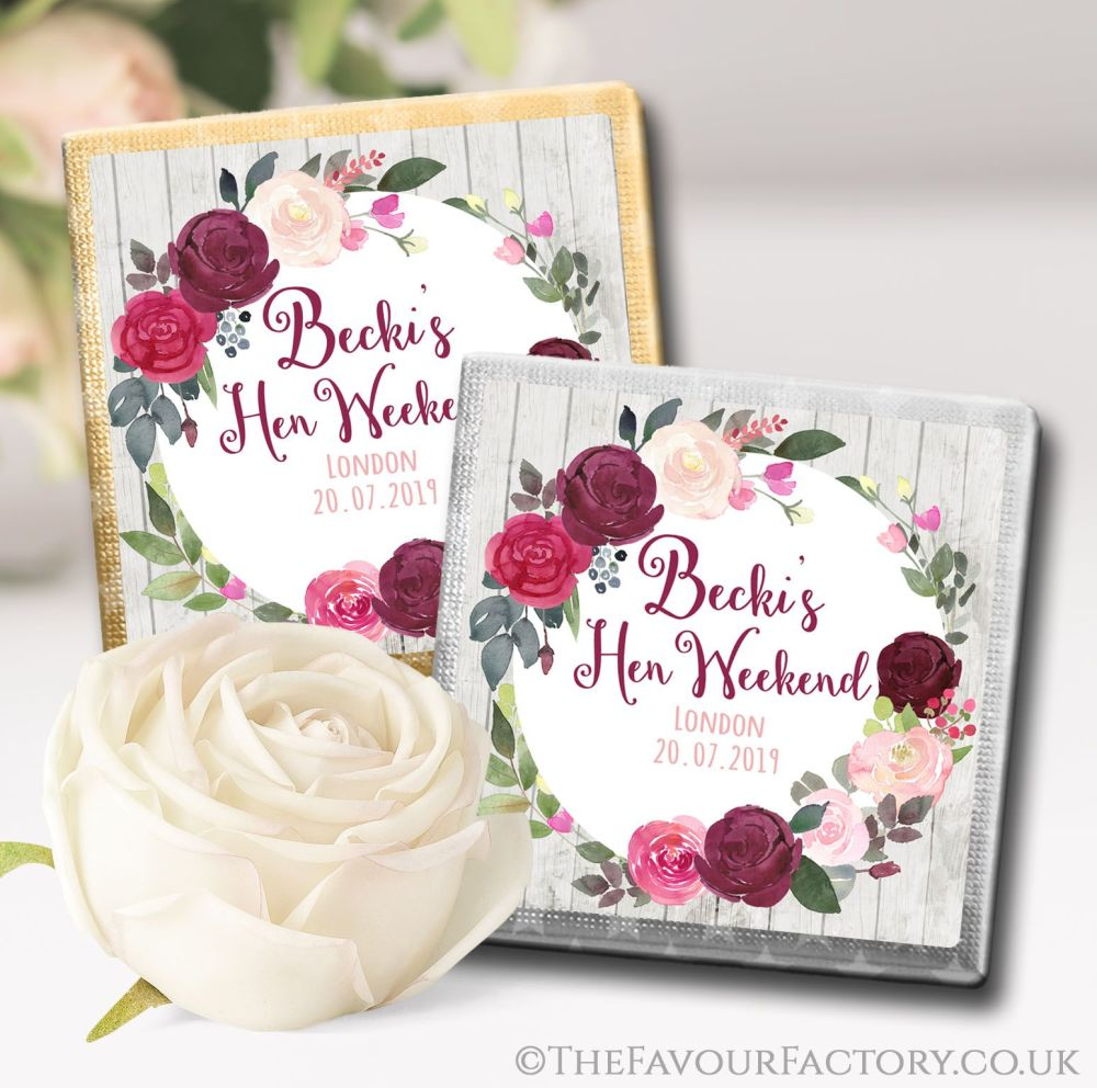 Personalised Hen Party Chocolates Favours Burgundy Blush Floral Wreath