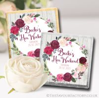 Burgundy Blush Floral Wreath Hen Party Chocolate Squares x10