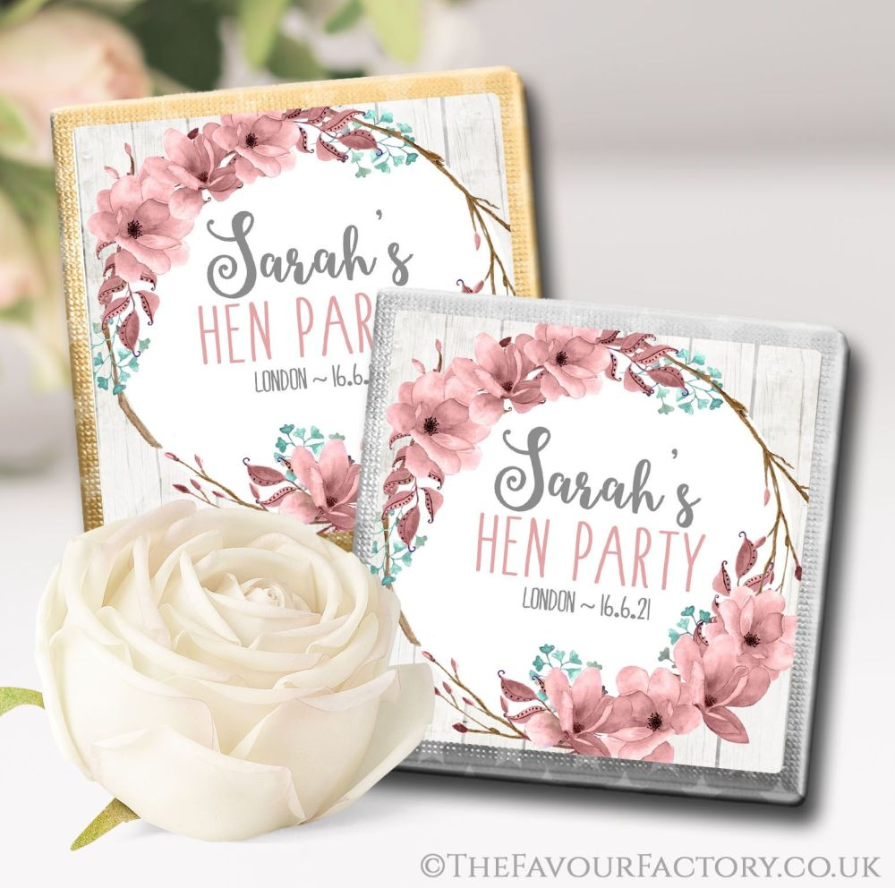 Boho Floral Wreath Hen Party Chocolates Favours Personalised