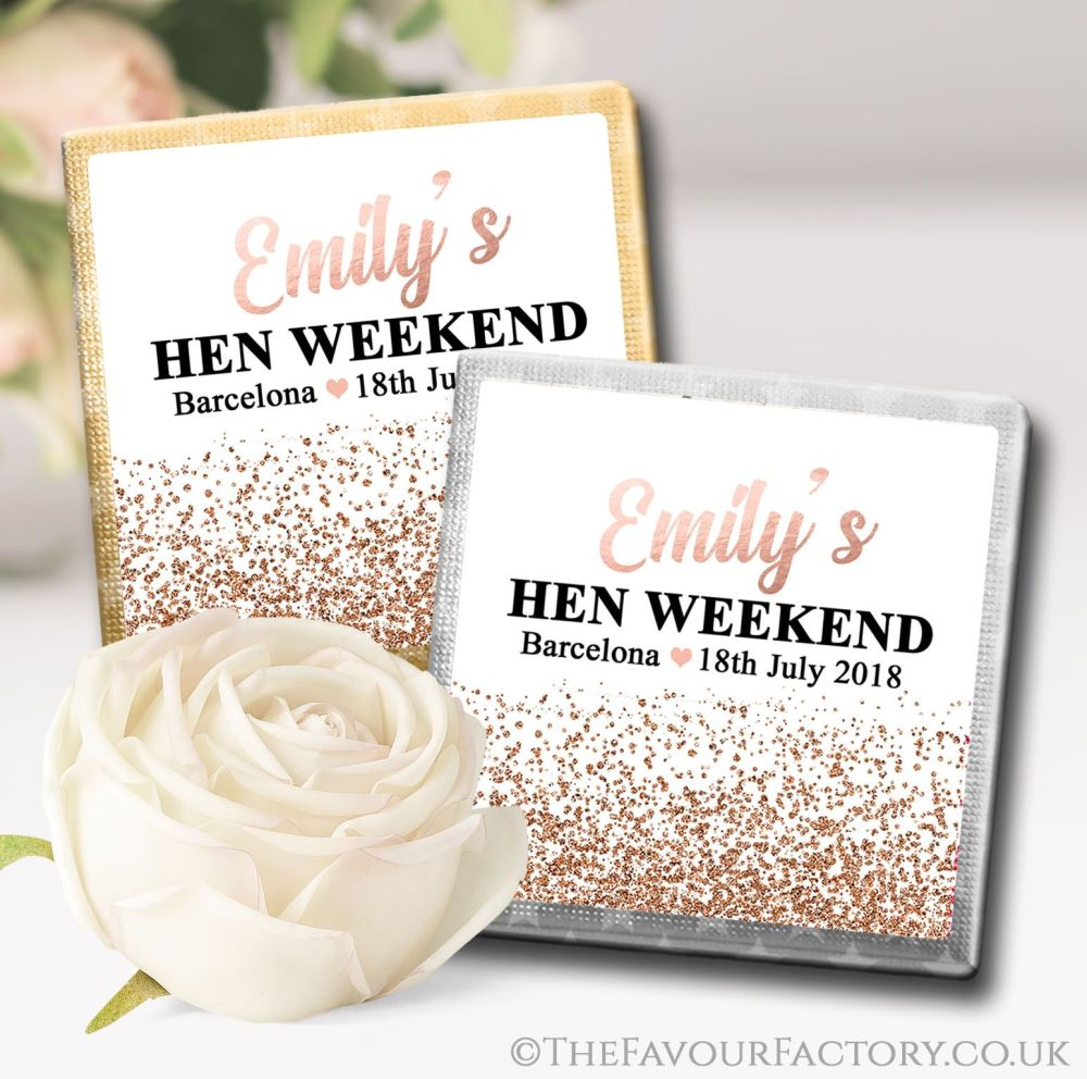 Hen Party Chocolate Squares Rose Gold Glitter Confetti x10