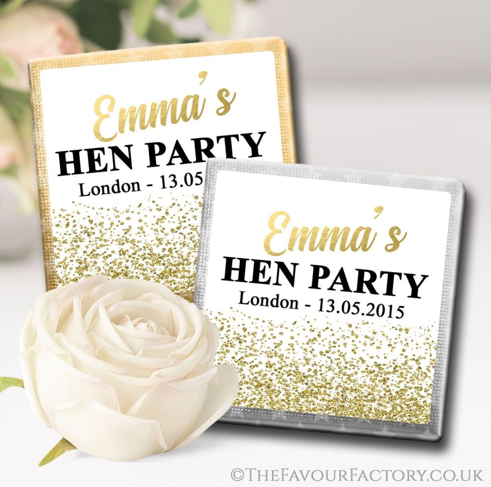 Gold Glitter Confetti Hen Party Chocolates Favours