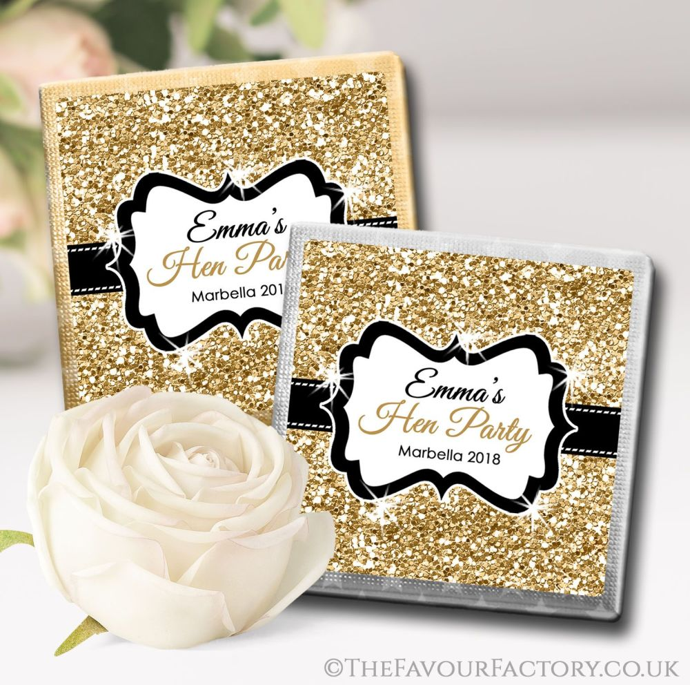 Gold Glitter Hen Party Chocolate Squares x10