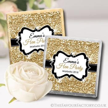 Hen Party Chocolates Favours Gold Glitter x10