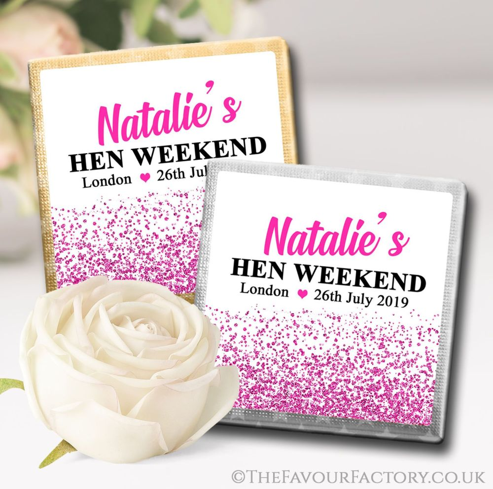 Personalised Hen Party Chocolates Hot Pink Glitter Confetti