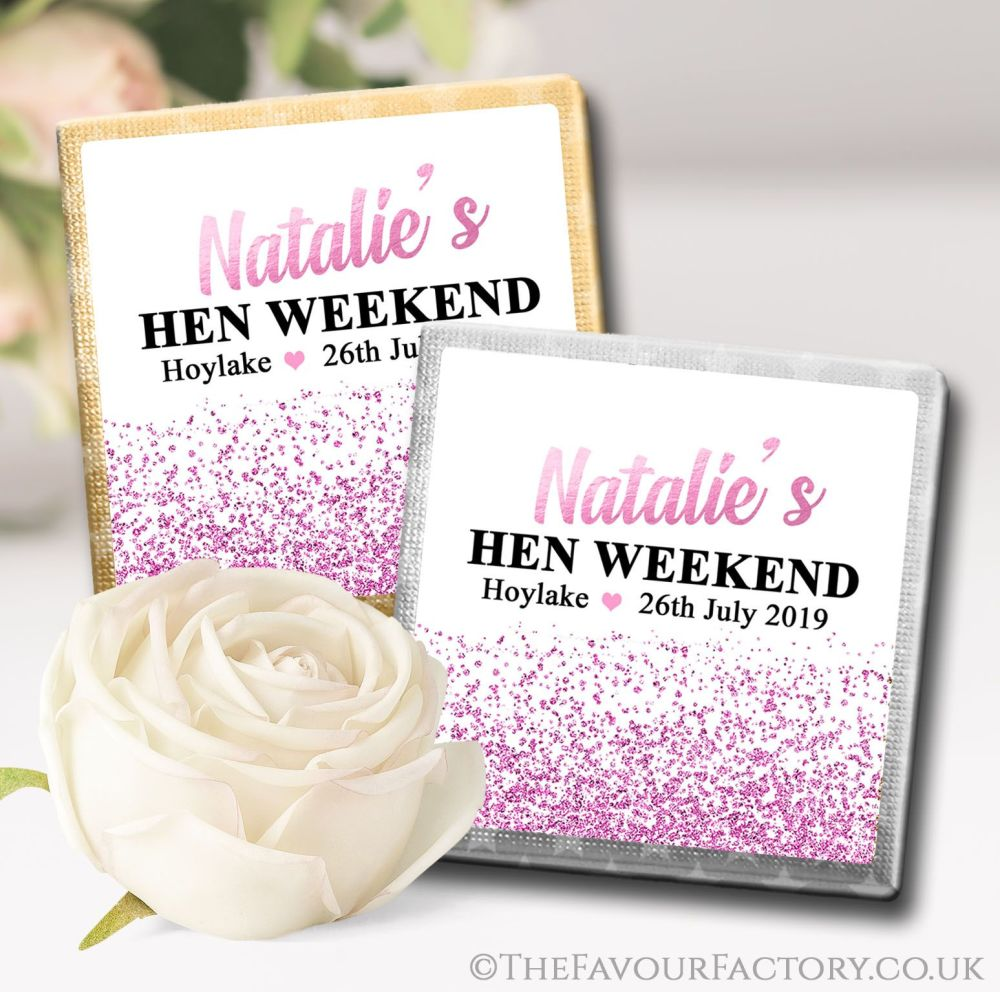 Hen Party Chocolate Squares Pink Glitter Confetti x10