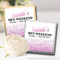 Pink Glitter Confetti Hen Party Chocolate Squares x10